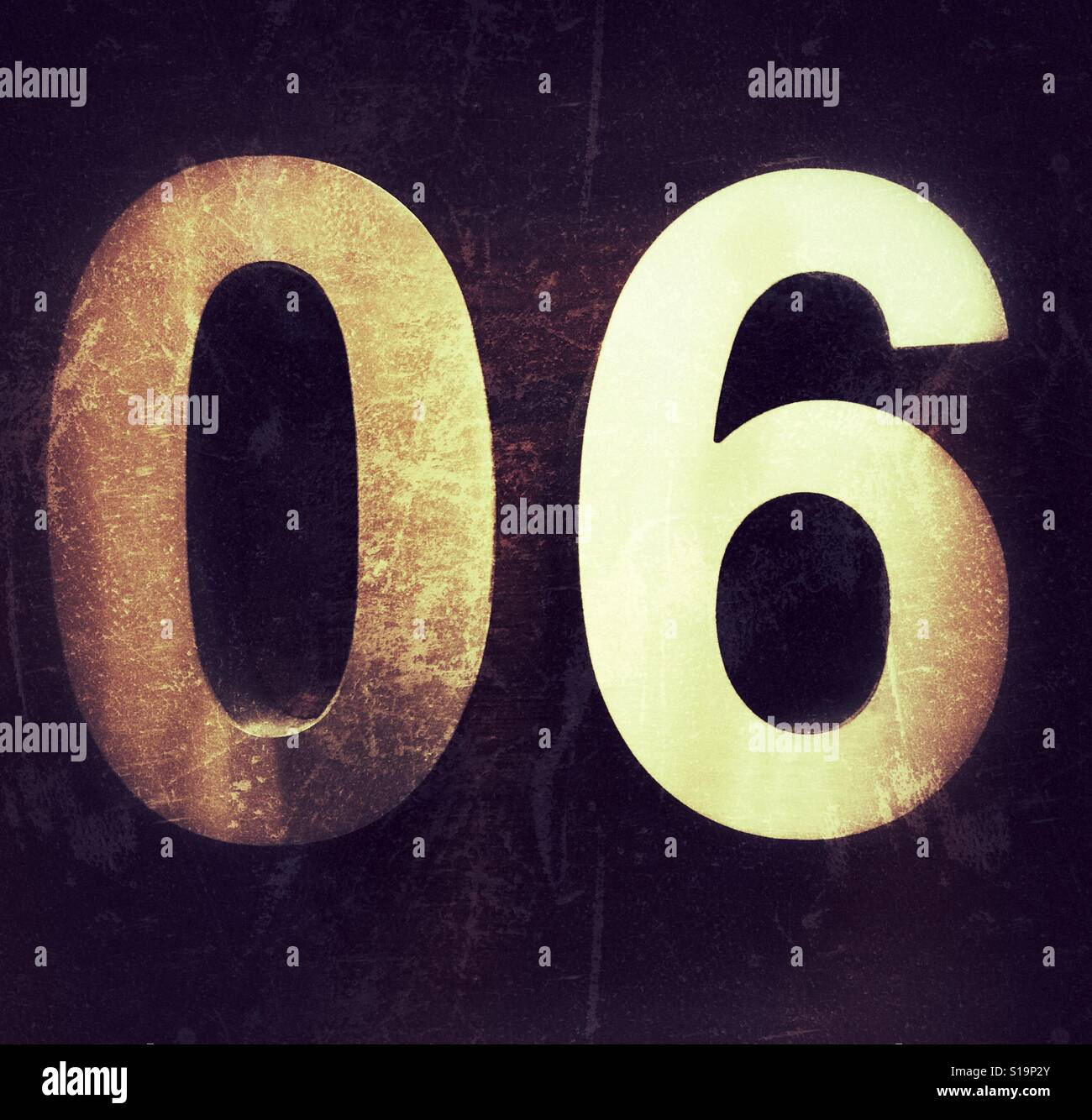 Number six, numerical 06 - Stock Image