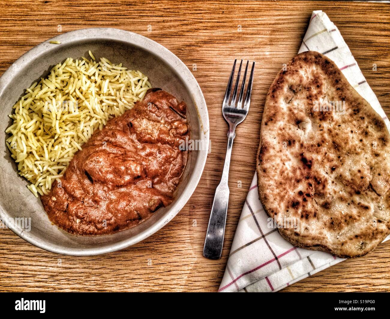 Coop Indian chicken Madras with Pilau rice and Naan bread - Stock Image