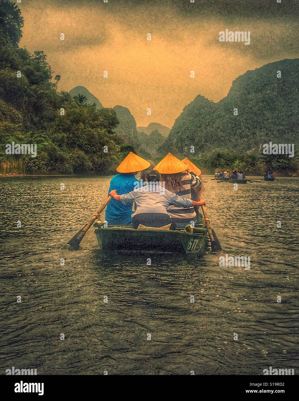 Boat ride in Vietnam - Stock Image
