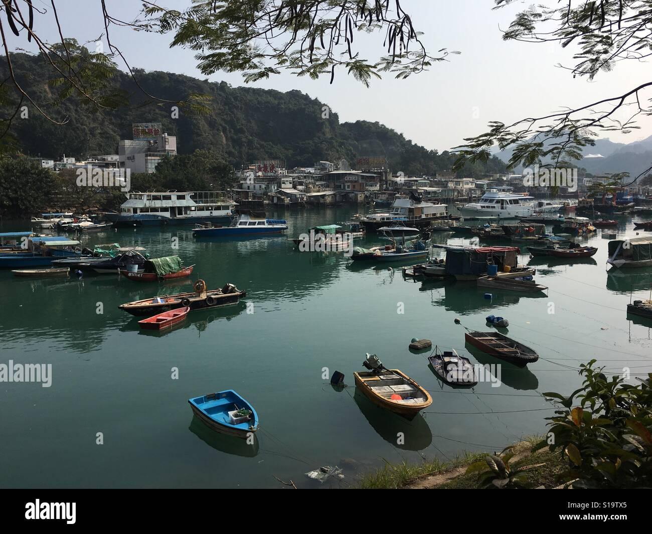 Fishing boats at anchor Lei Yuri Mun Hong Kong - Stock Image