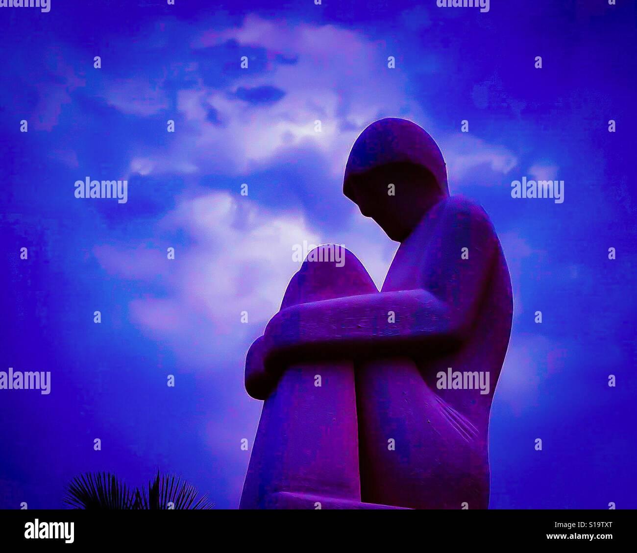 Statuary at night - Stock Image