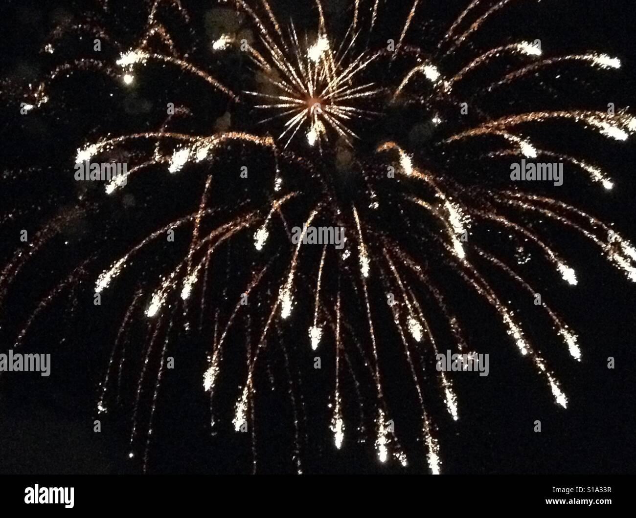 Bursting fireworks at night - Stock Image