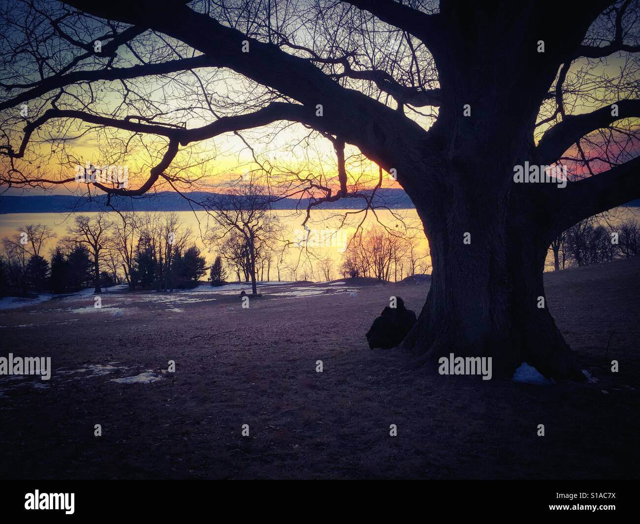 A couple enjoy the sunset overlooking the Hudson River on an unusually warm winter weekend with spring temperatures - Stock Image