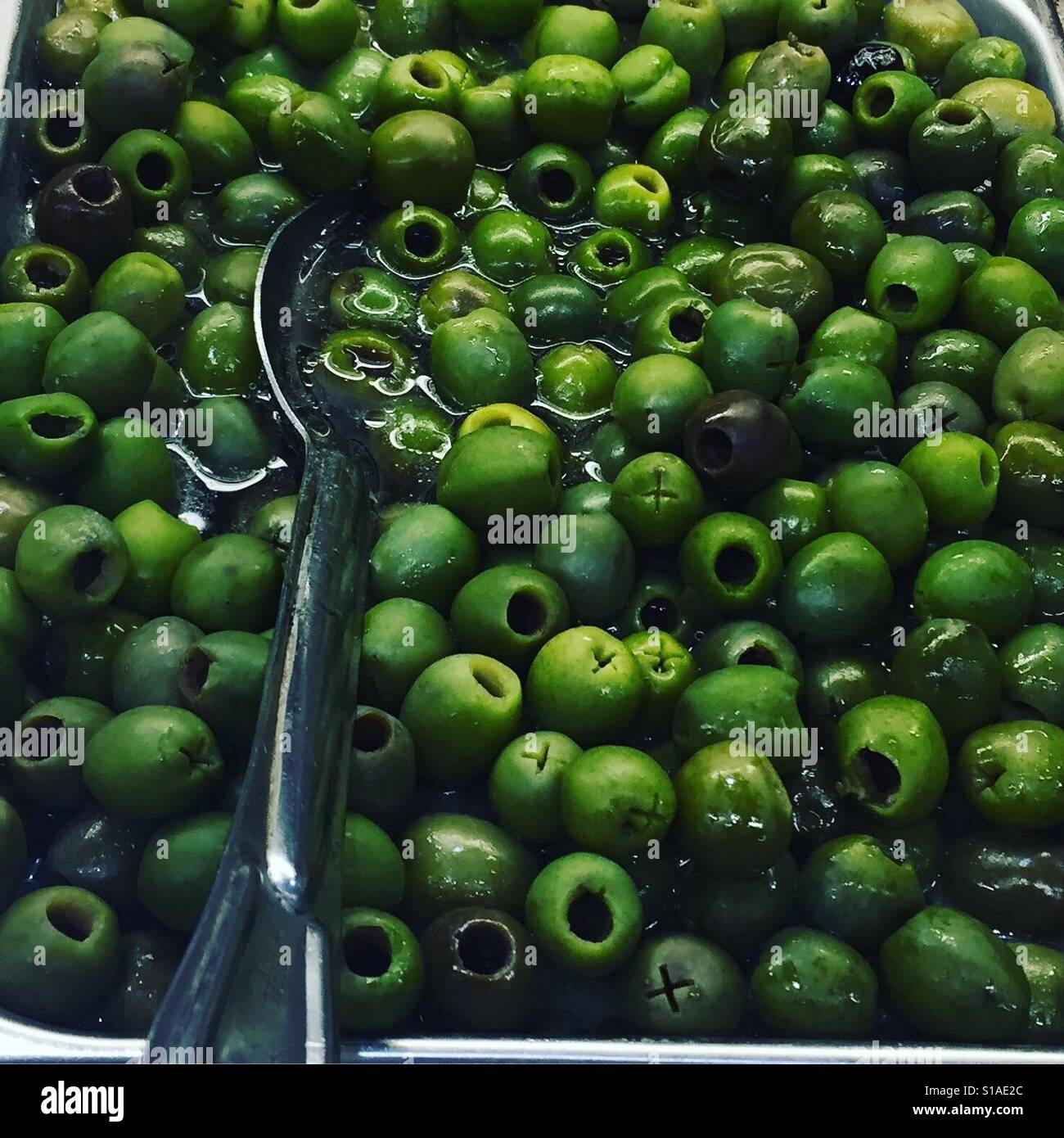 Green olives by K.R. - Stock Image