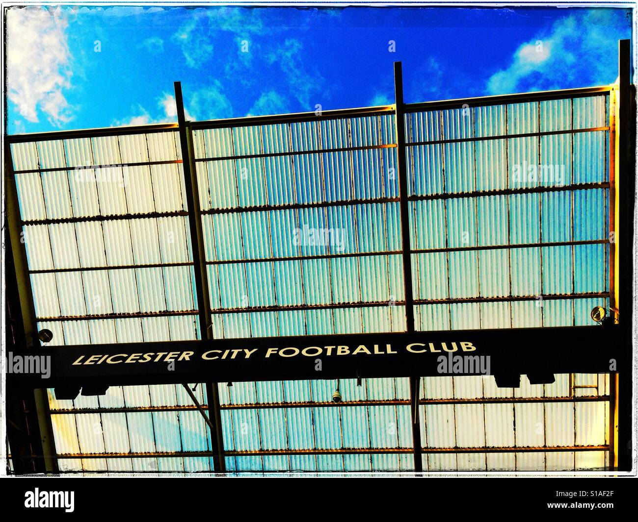 View of Leicester City Football Club logo on the stand at the King Power Stadium Stock Photo
