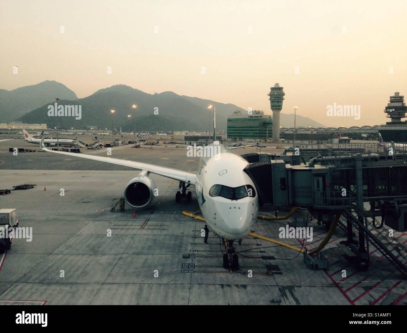 Cathay Pacific A350 on stand at Hong Kong airport - Stock Image
