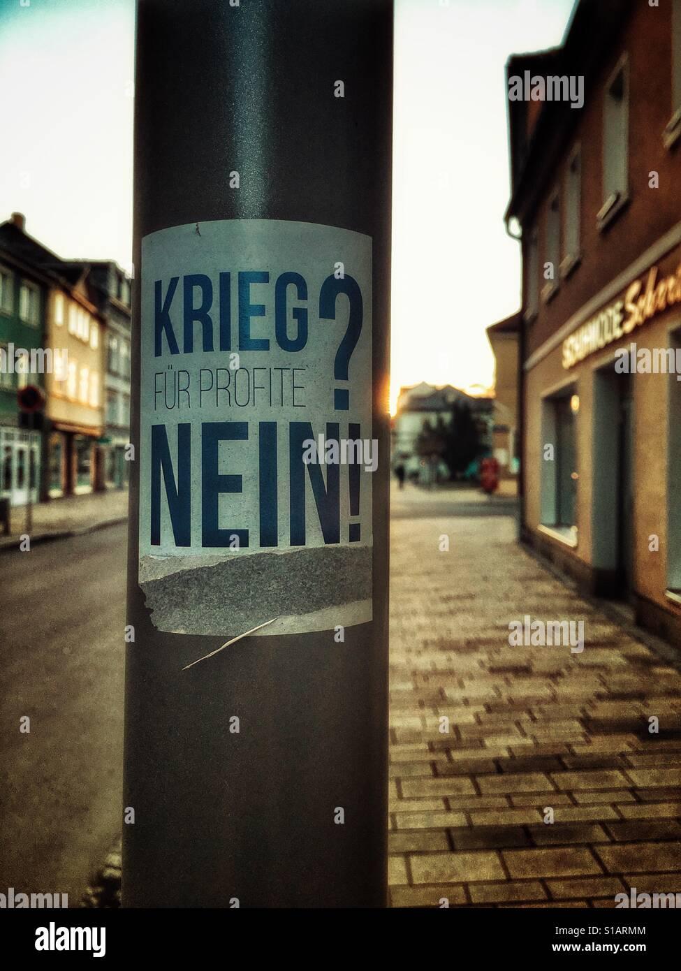 Krieg für Profite? Nein / War for profits? No - in german language - Stock Image