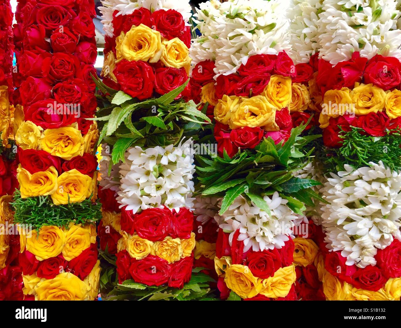 Indian fresh flower garlands, Little India, Singapore - Stock Image