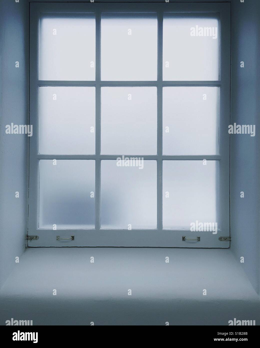 Window with frosted panes - Stock Image