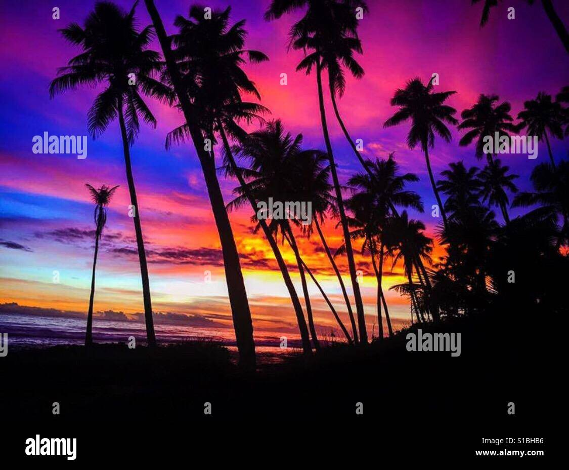 Samoa sunset - Stock Image