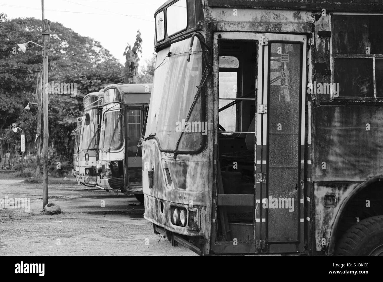 Old busses in Hpa-An Myanmar. - Stock Image