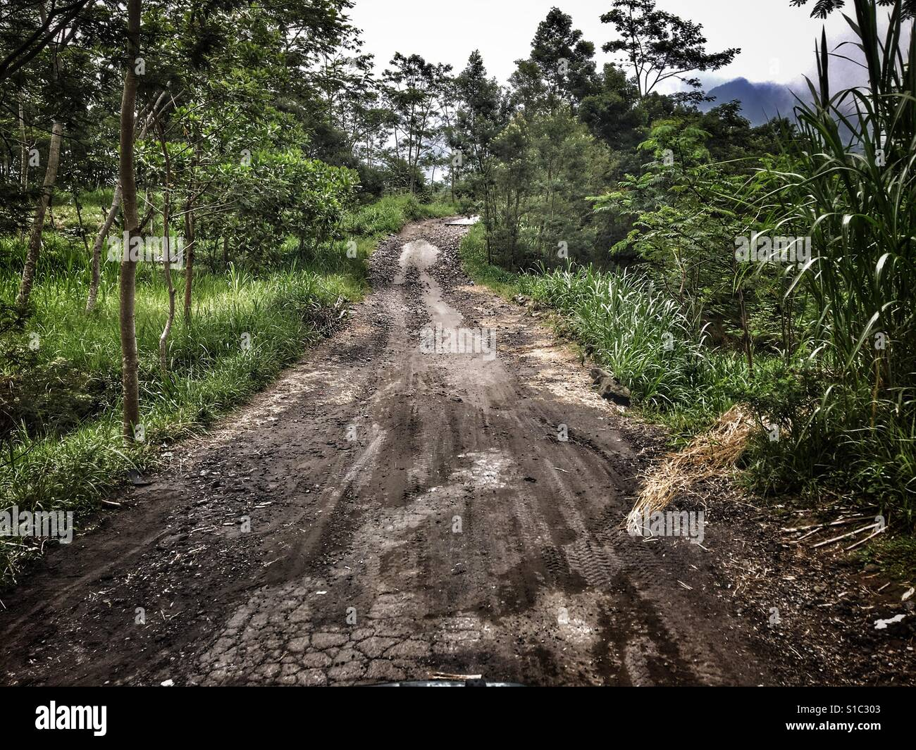Rural road in Mount Merapi area damaged during the 2010 eruption - Java, Indonesia - Stock Image