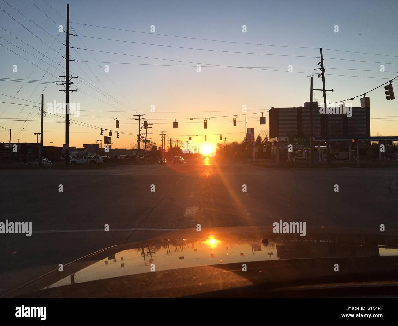 Sunrise commute - Stock Image