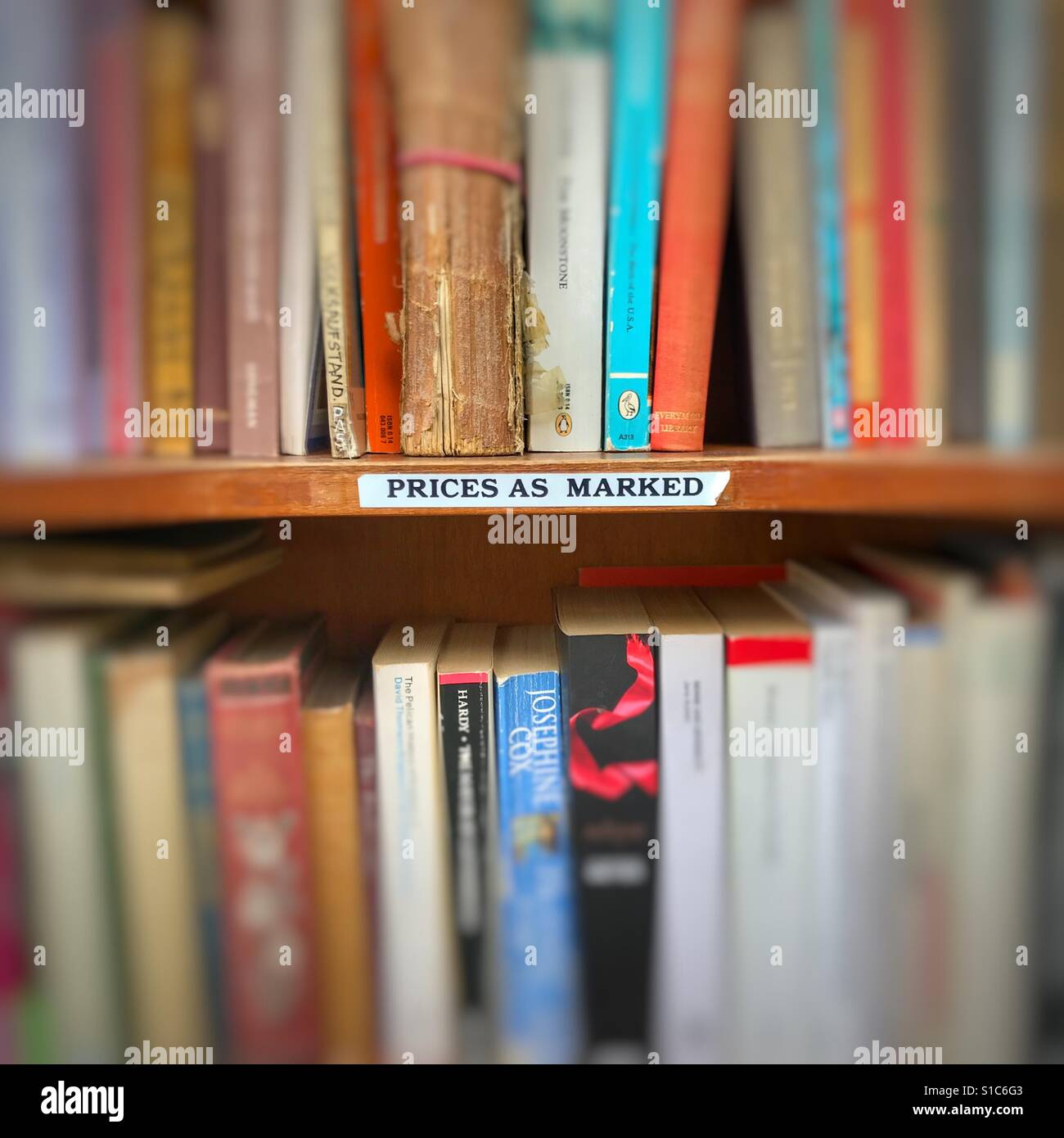 Secondhand books in a bookstore in the market in Cambridge United Kingdom - Stock Image