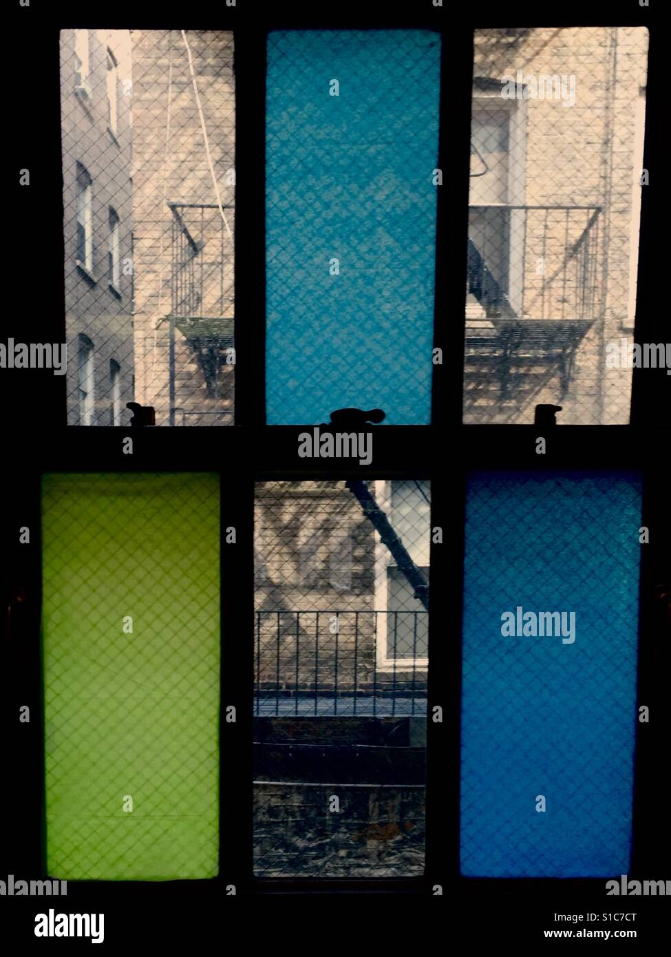 Rear window with color block view - Stock Image