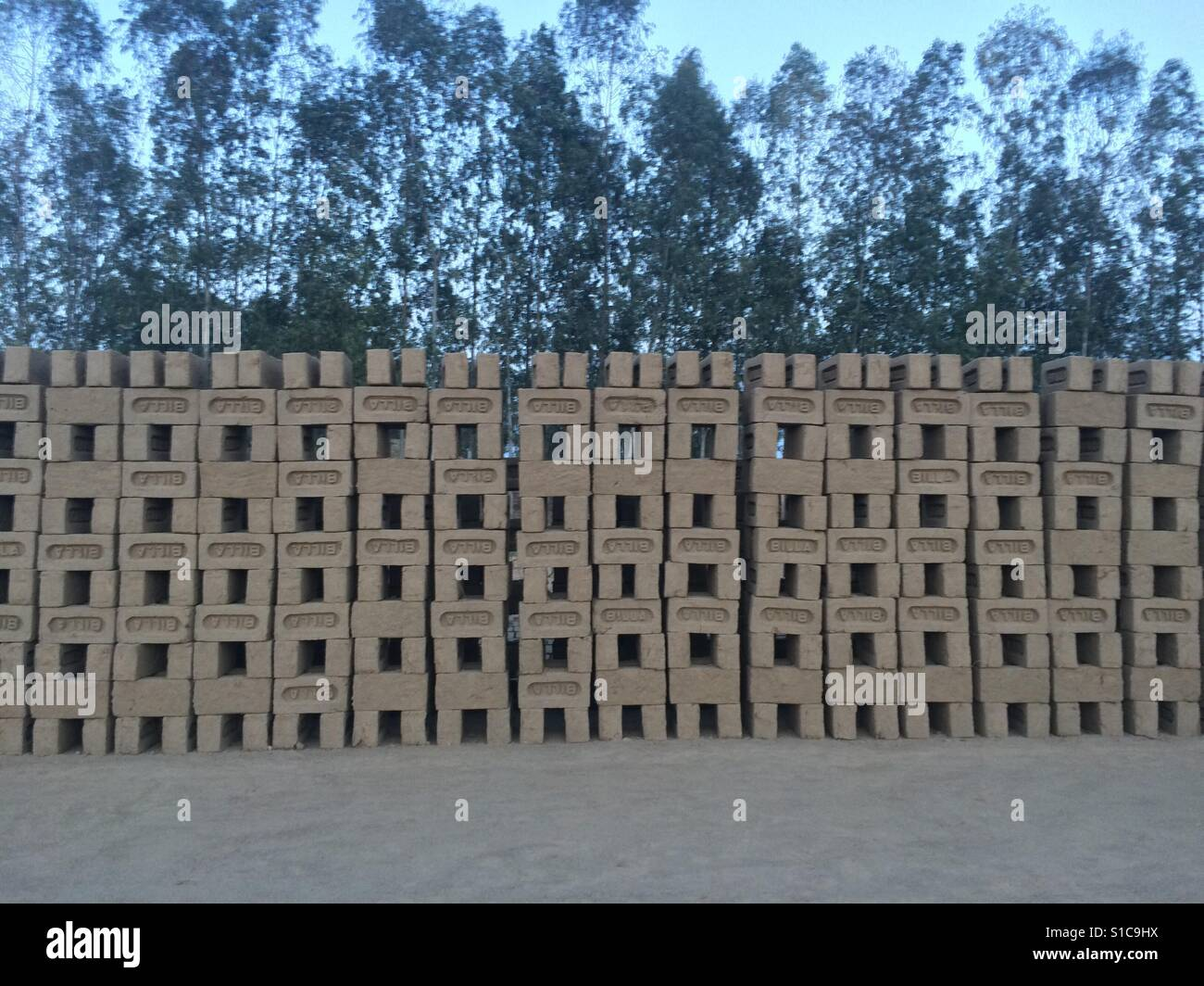 line of bricks that handmade by poor peoples in india - Stock Image