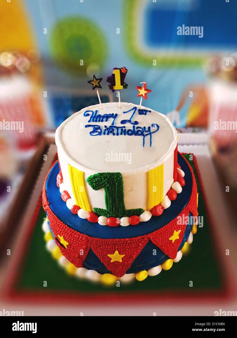 First Birthday Colorful Circus Themed Cake Stock Photo 310681502
