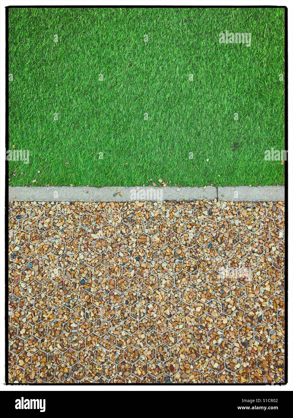Astro turf and gravel - Stock Image