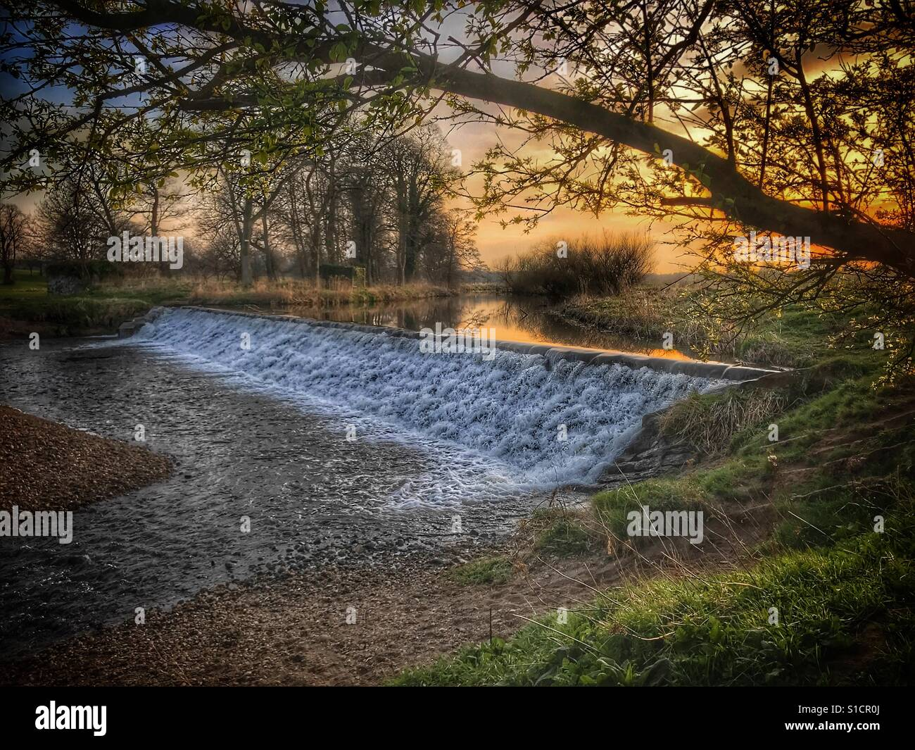 A late march evening on the Amisfield park river walk, Haddington, East Lothian. A beautiful view of the river Tyne - Stock Image