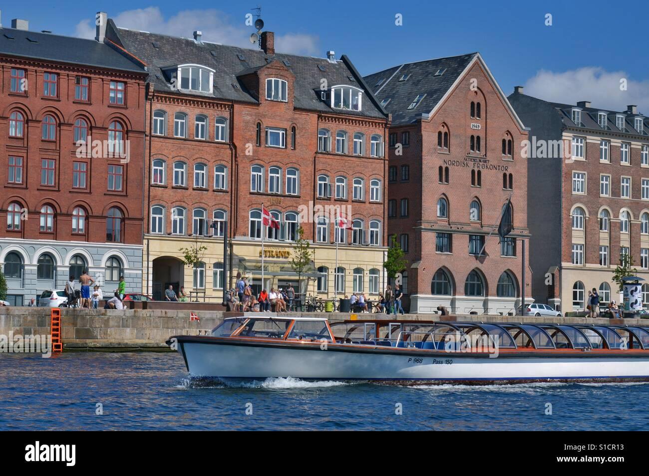 Nyhavn, old waterfront settlement of Copenhagen, Denmark - Stock Image