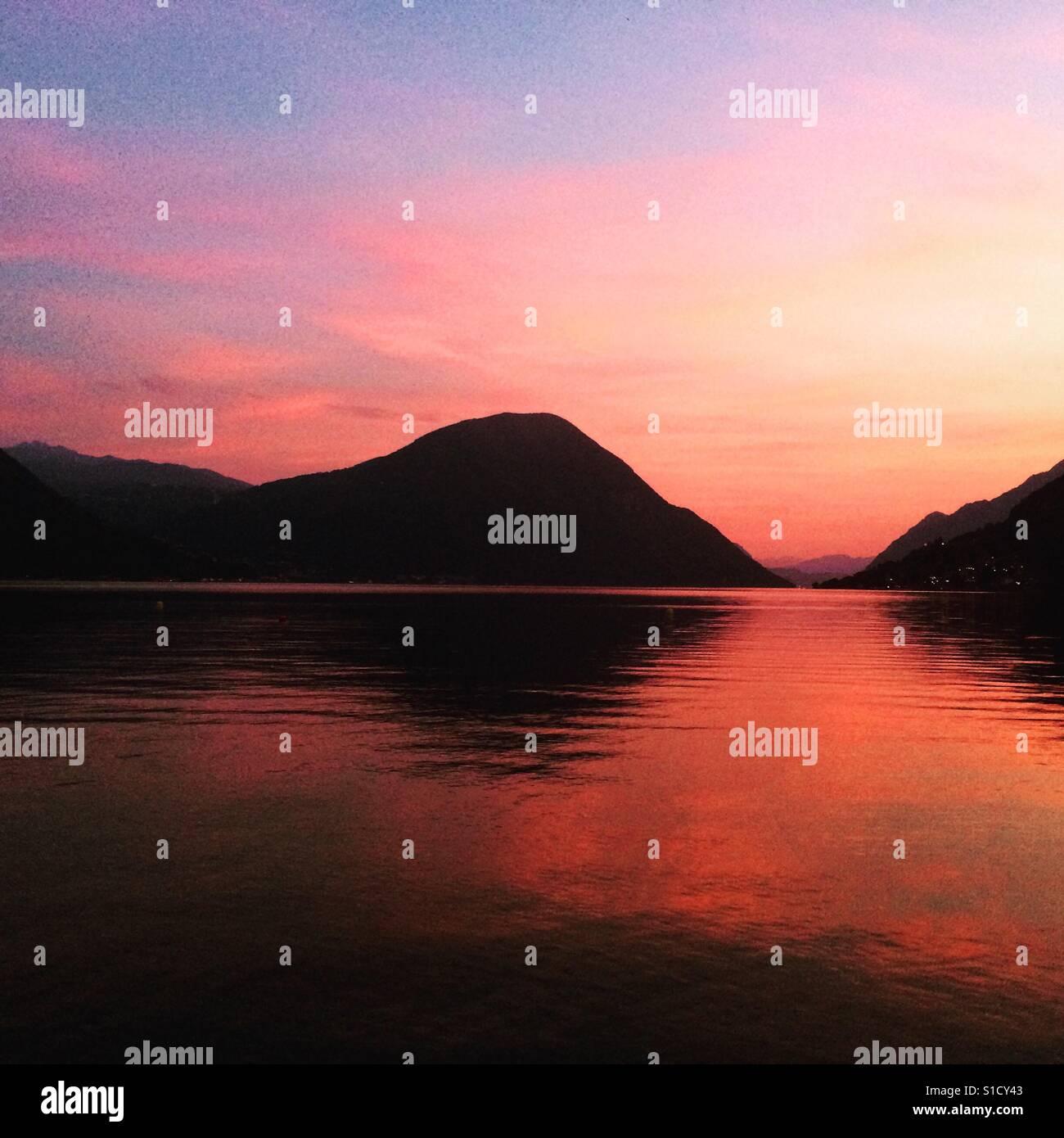 Sunset on the Lake - Stock Image