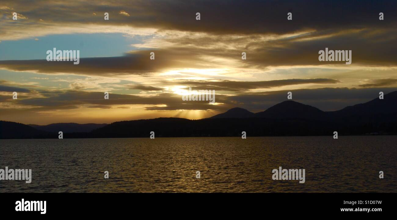 Sandpoint, Idaho Sunset! Photo taken while sightseeing on the Selkirk Loop. - Stock Image