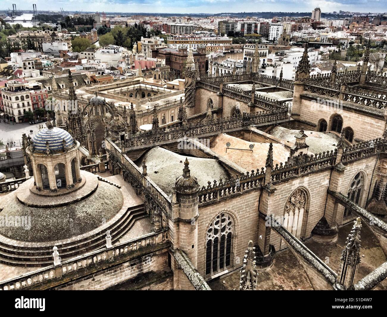 View of Seville from the Giralda, Cathedral tower, Catedral de Sevilla. - Stock Image