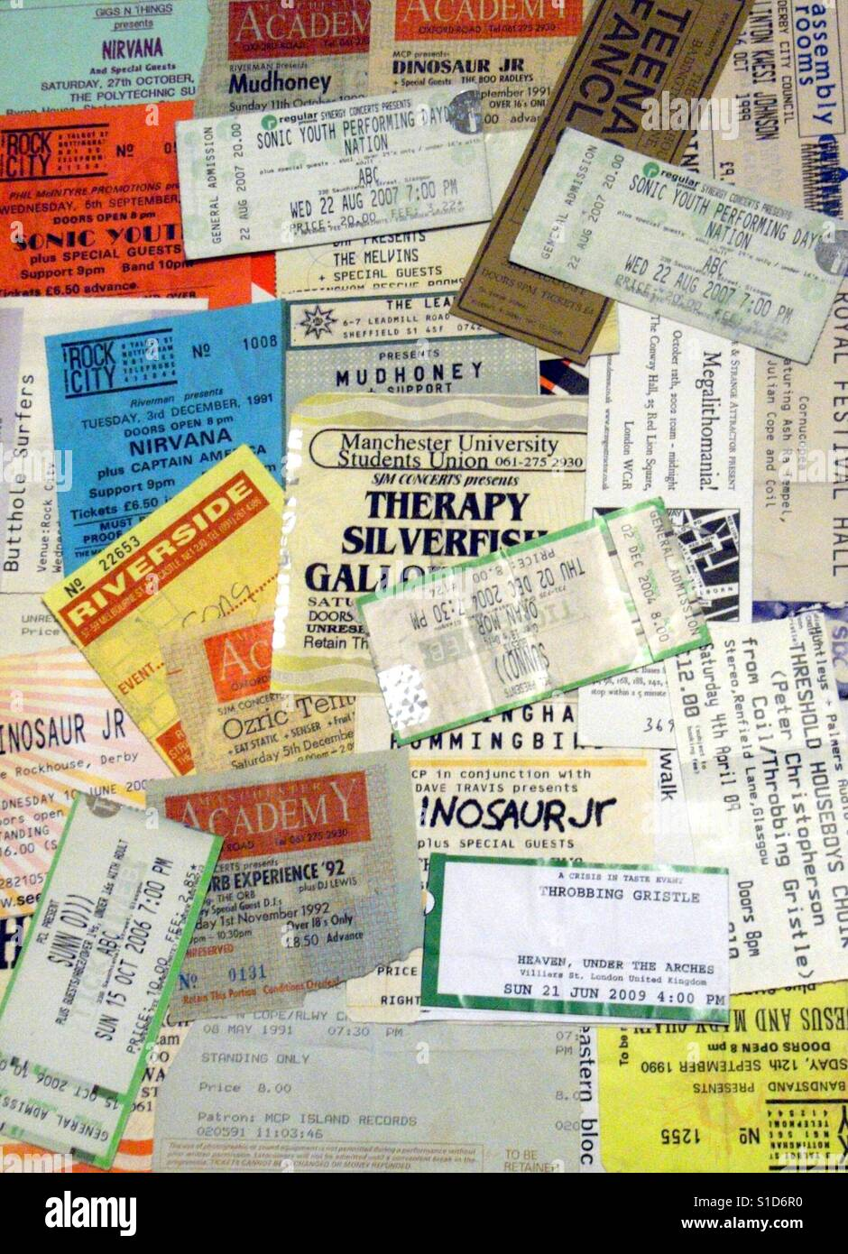 A selection of vintage concert tickets and used ticket stubs. - Stock Image