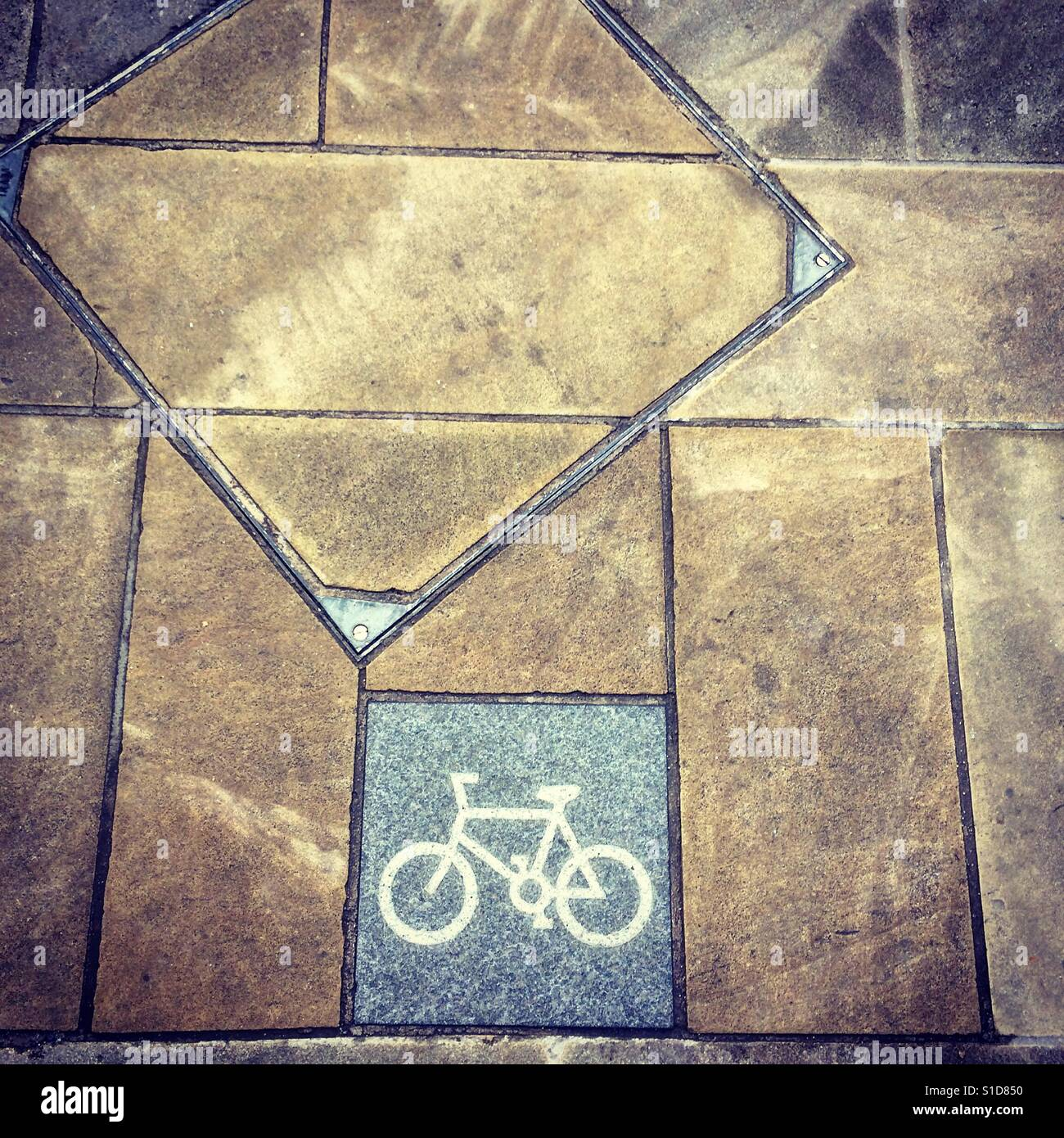 Cycle path in city - Stock Image