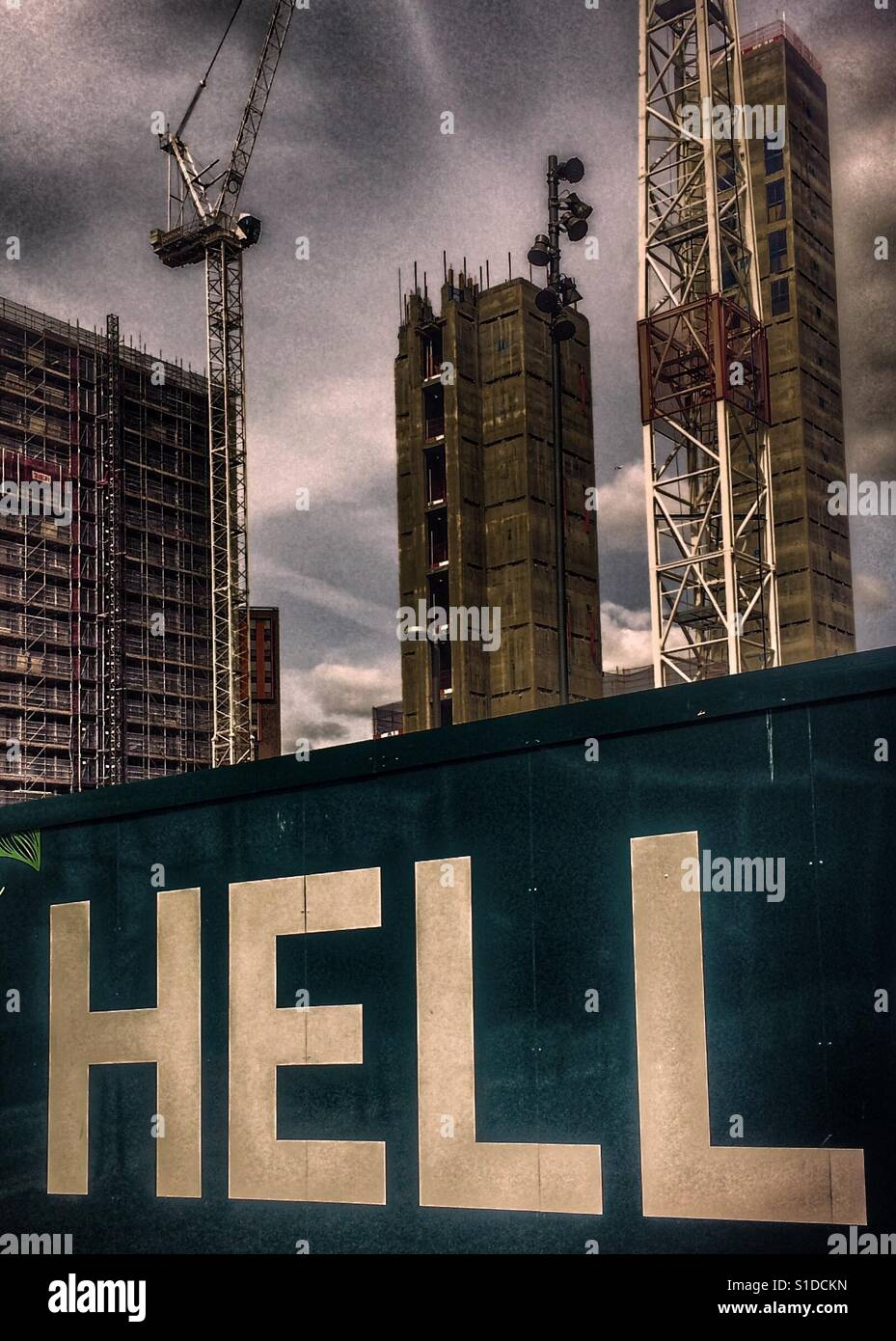 Hell of redevelopment - Stock Image