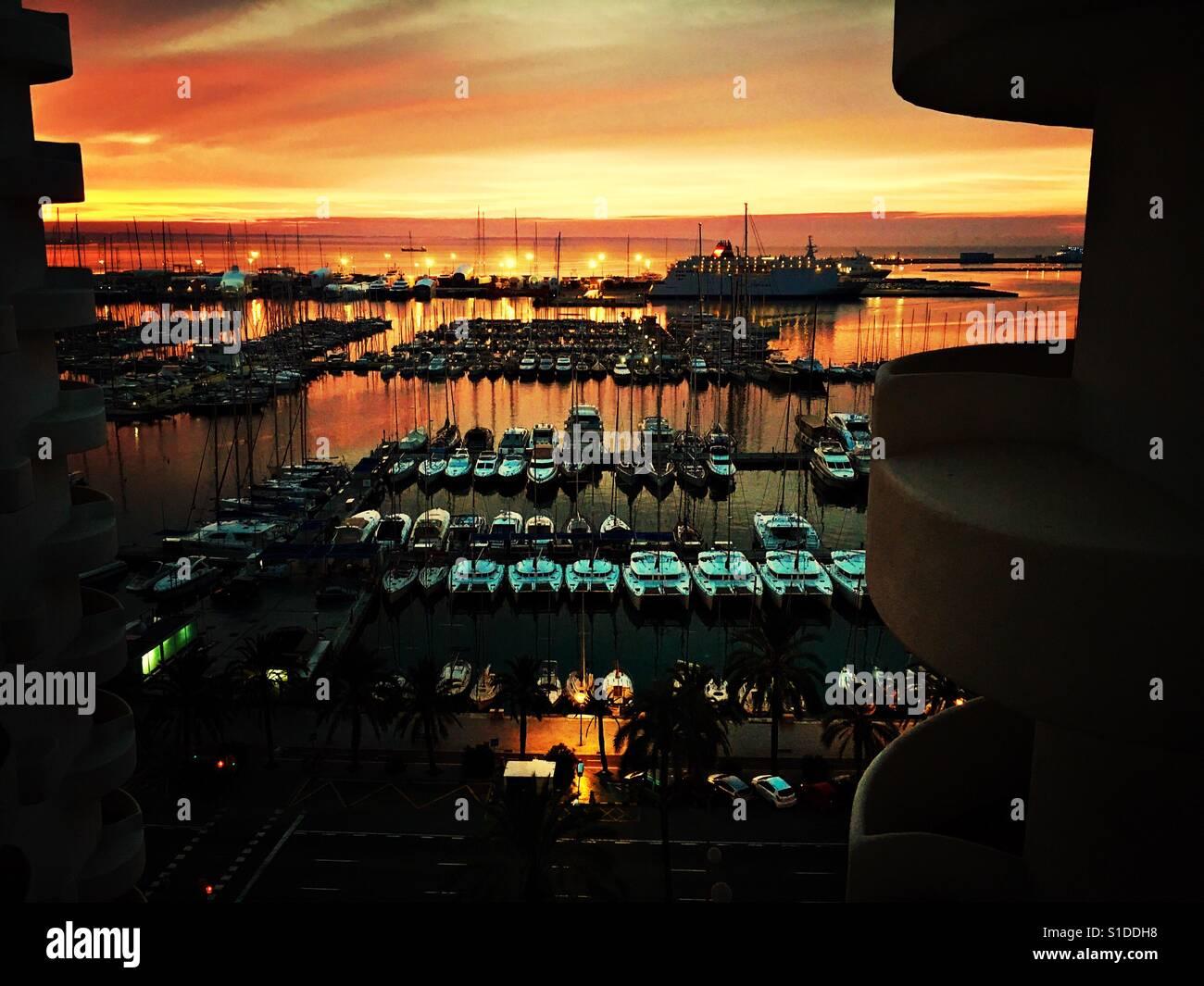 Sunrise in Palma de Mallorca Stock Photo