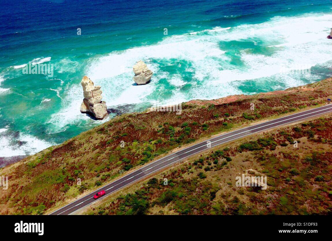 Helicopter view of the 12 Apostles - Stock Image