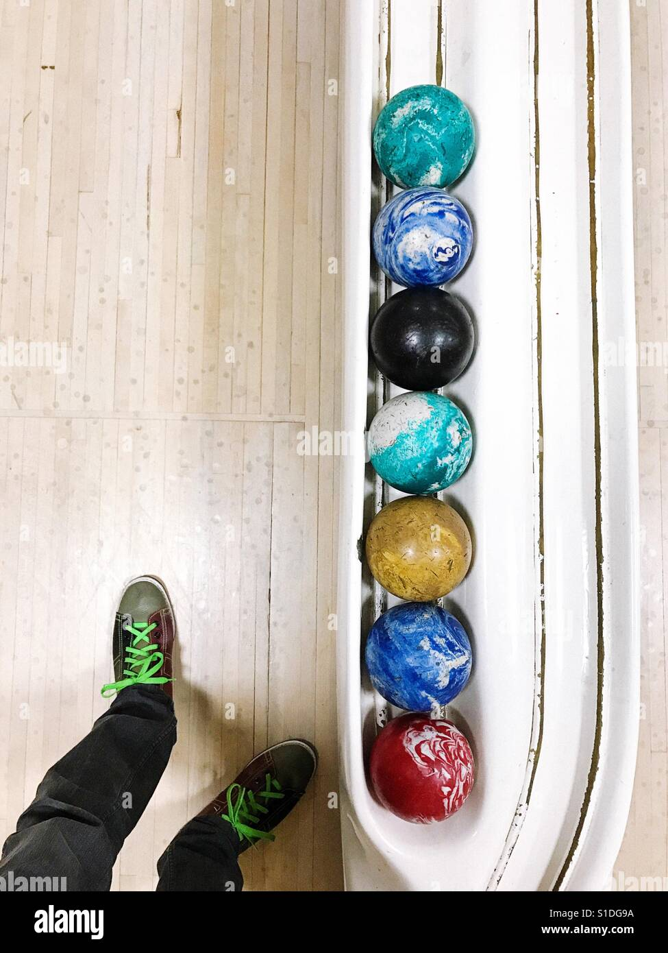Duckpin bowling in Connecticut, USA. - Stock Image