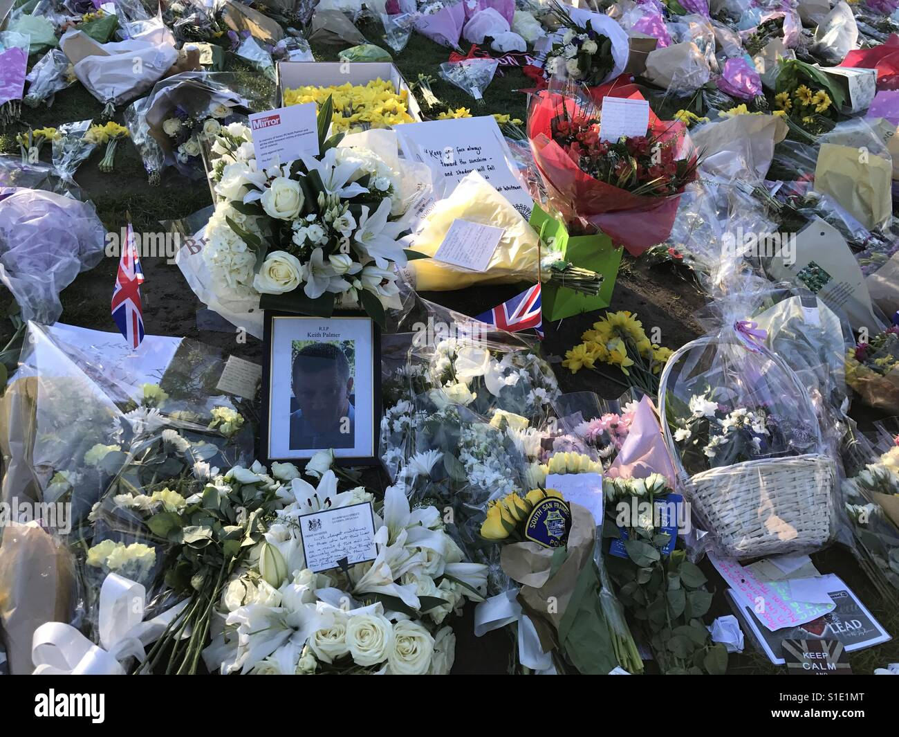 Flowers And Cards Outside Parliament Mourning for London Terrorist Attack - Stock Image