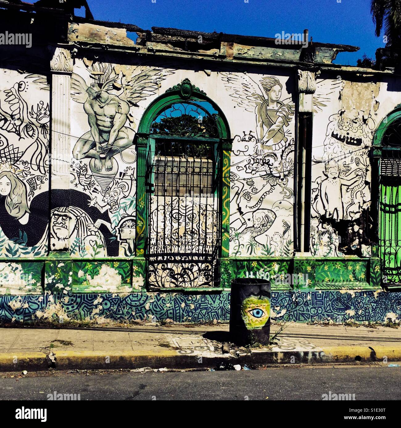A ruined house with spanish colonial architecture elements painted a ruined house with spanish colonial architecture elements painted over by a local artist is seen in the center of san salvador el salvador freerunsca Image collections