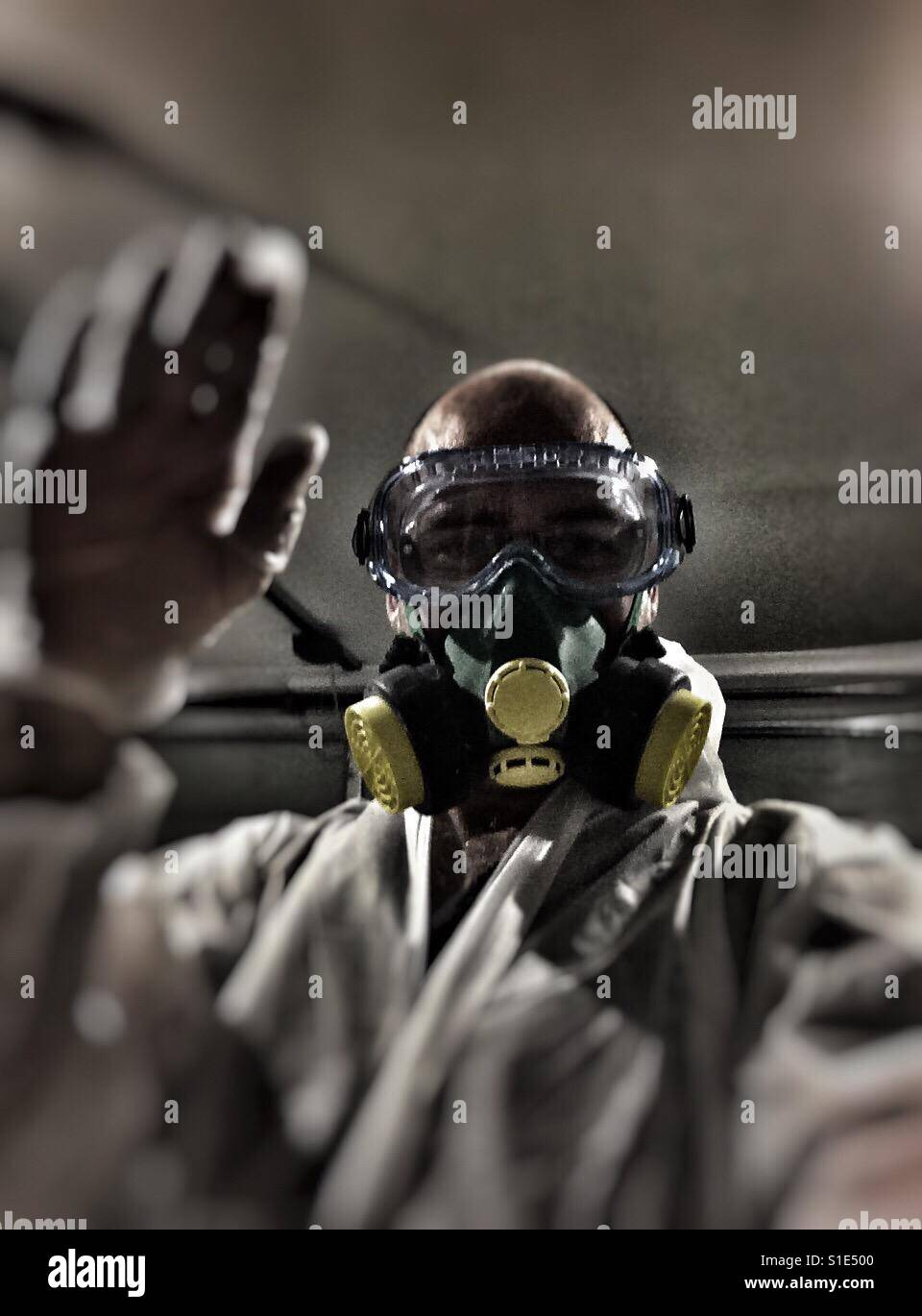 Respirator work safe - Stock Image