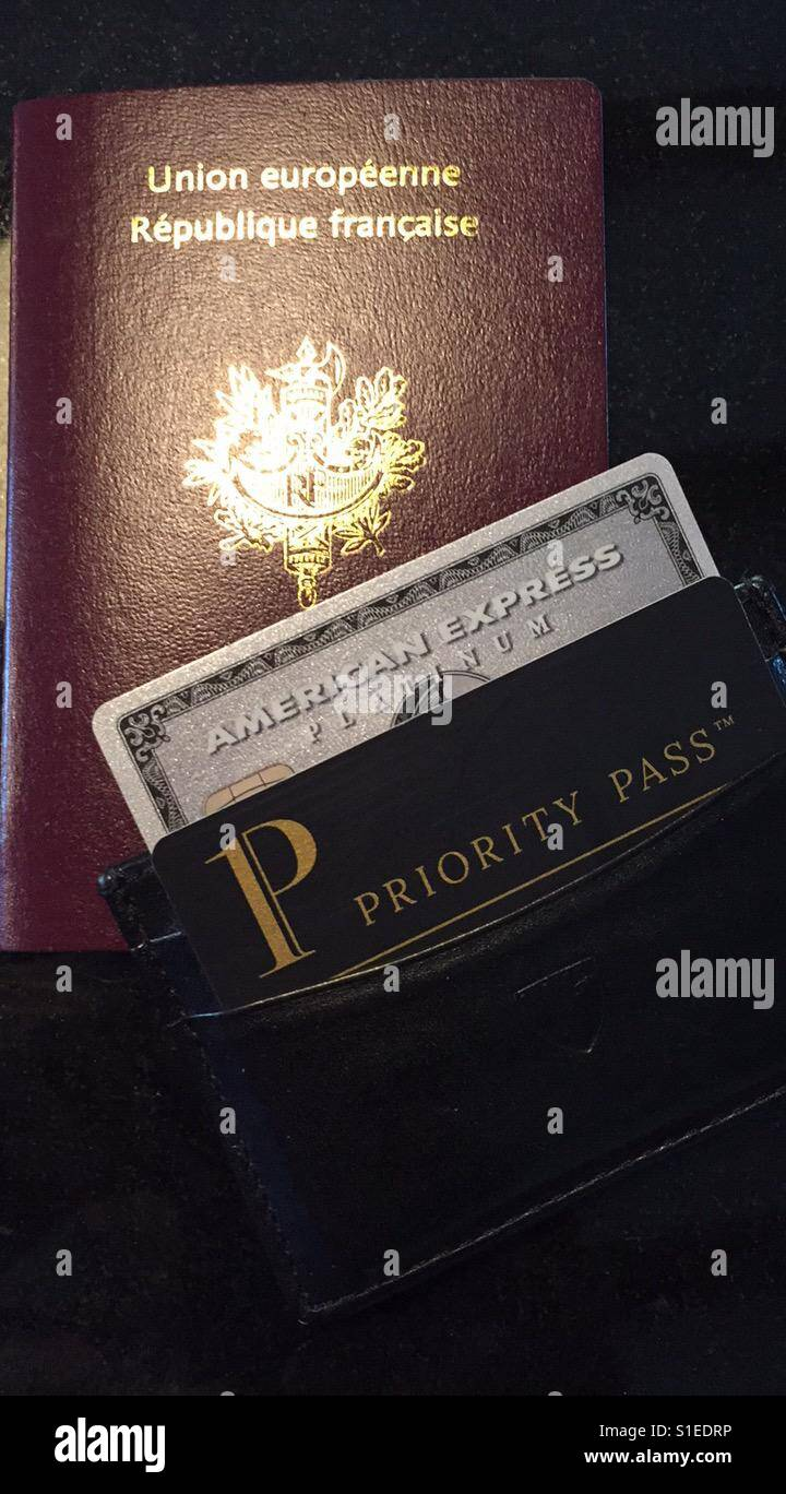 French passport, American Express Platinum card and Priority Pass