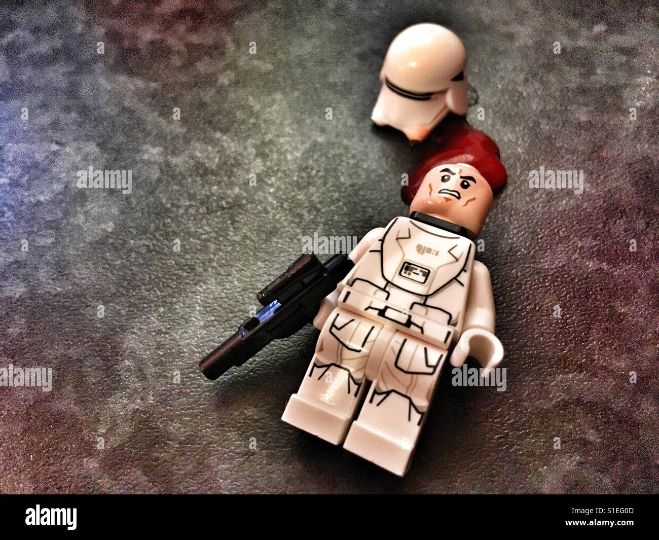 Wounded Lego First Order Snowtrooper mini figure - Stock Image