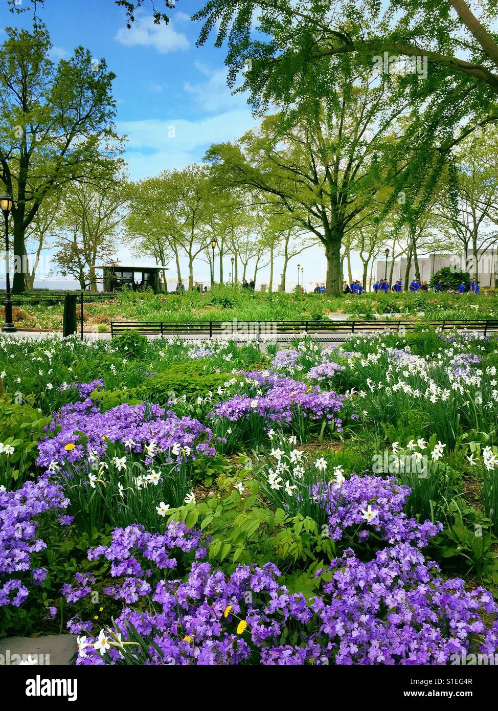Spring Flowers And Plantings In Battery Park Nyc Usa Stock Photo