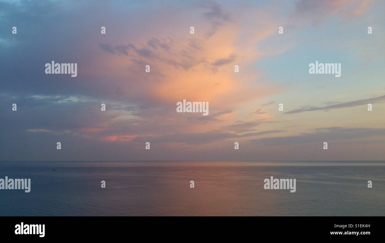 Peachy sunset - Stock Image