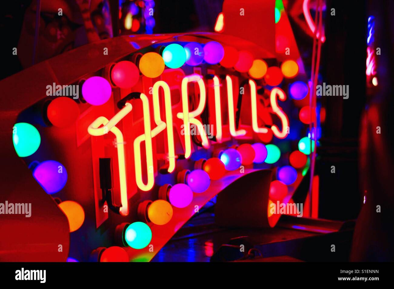 Thrilling lights at Gods own junkyard cafe in London - Stock Image
