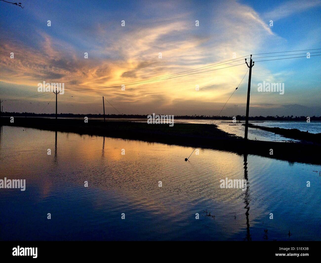 Evening view - Kuttanad - Stock Image