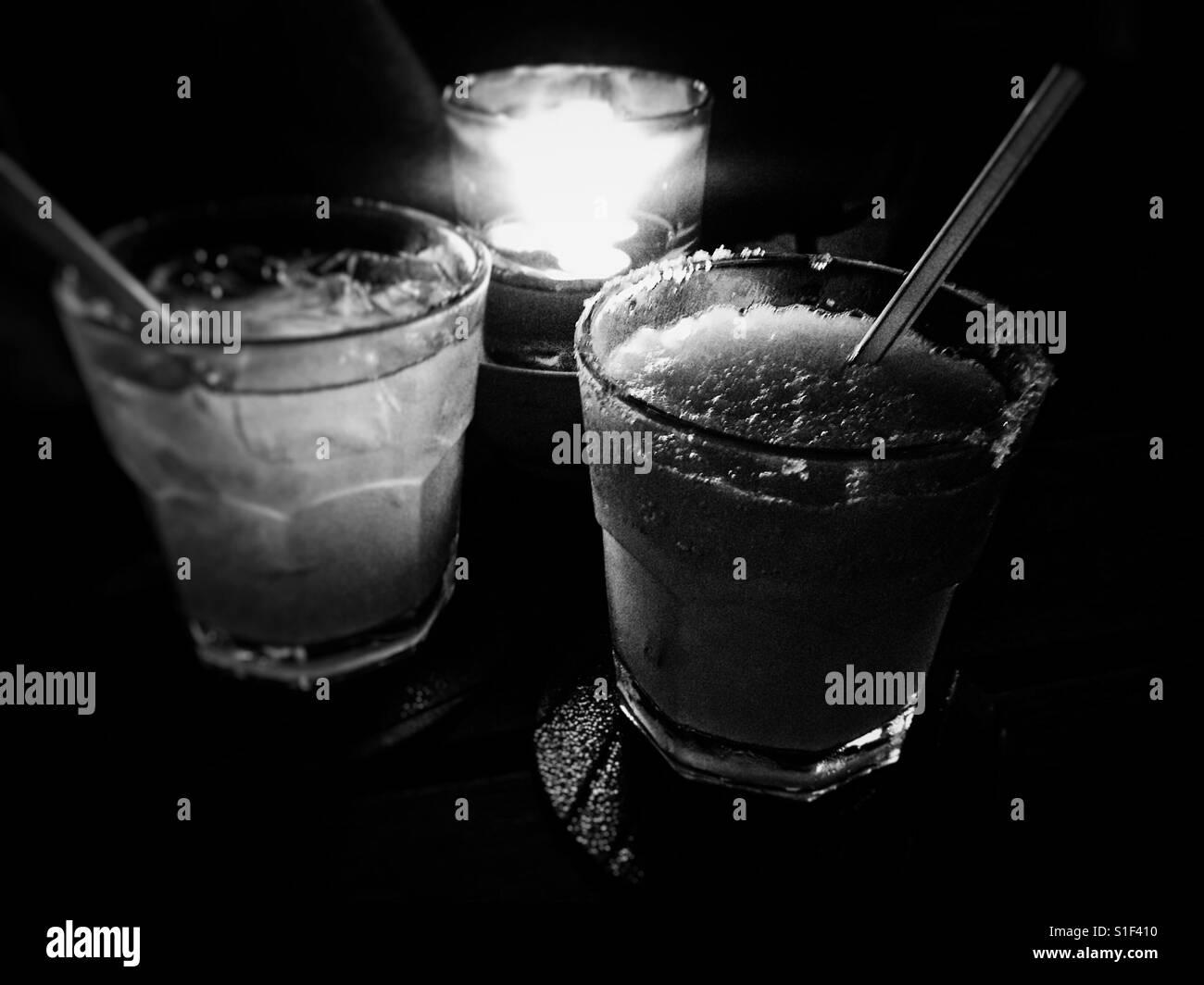 Margaritas and candlelight in Kota Kinabalu - Stock Image