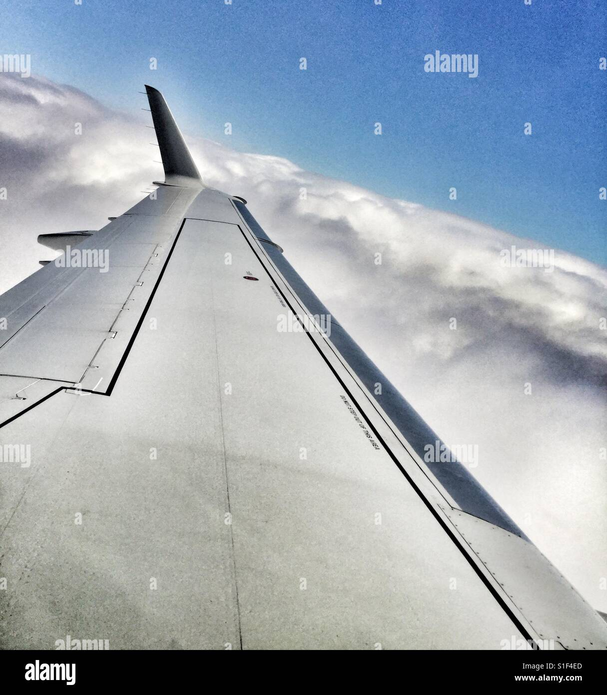 Flying into the clouds. - Stock Image