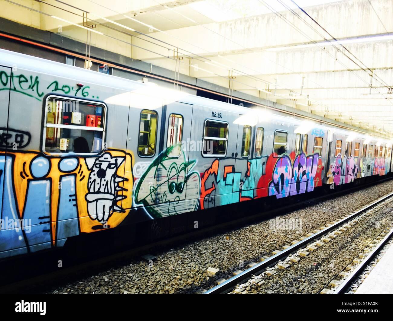 Graffiti work on trains stock image