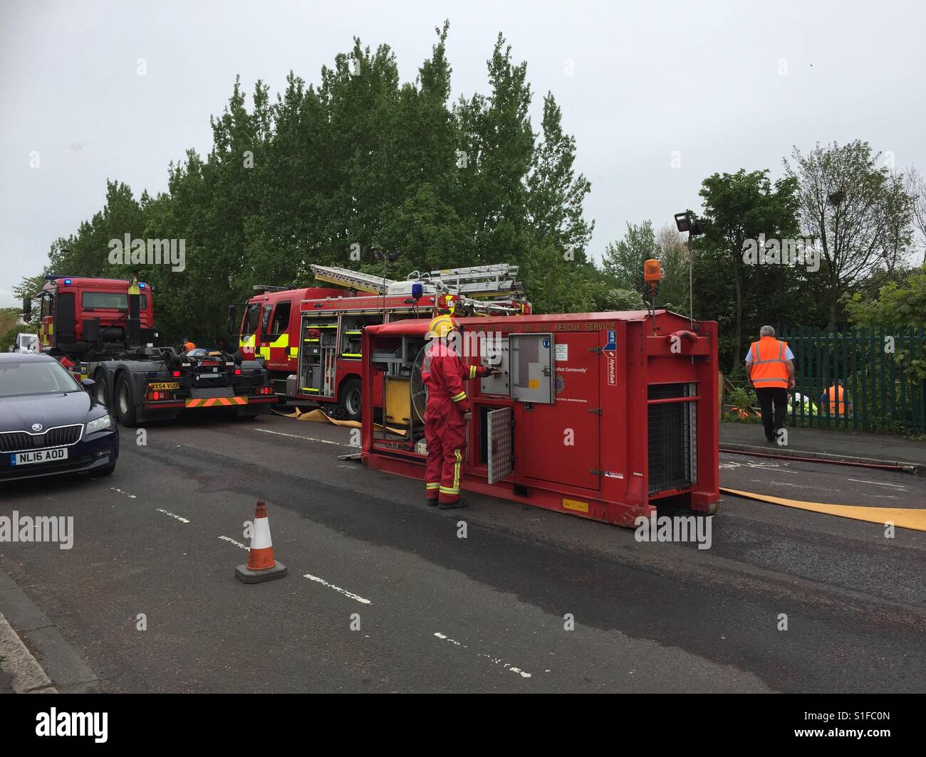 Firebrigade tackle flooded metro line today - Stock Image