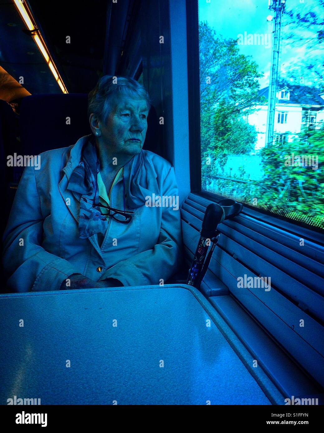 Old lady in the train - Stock Image