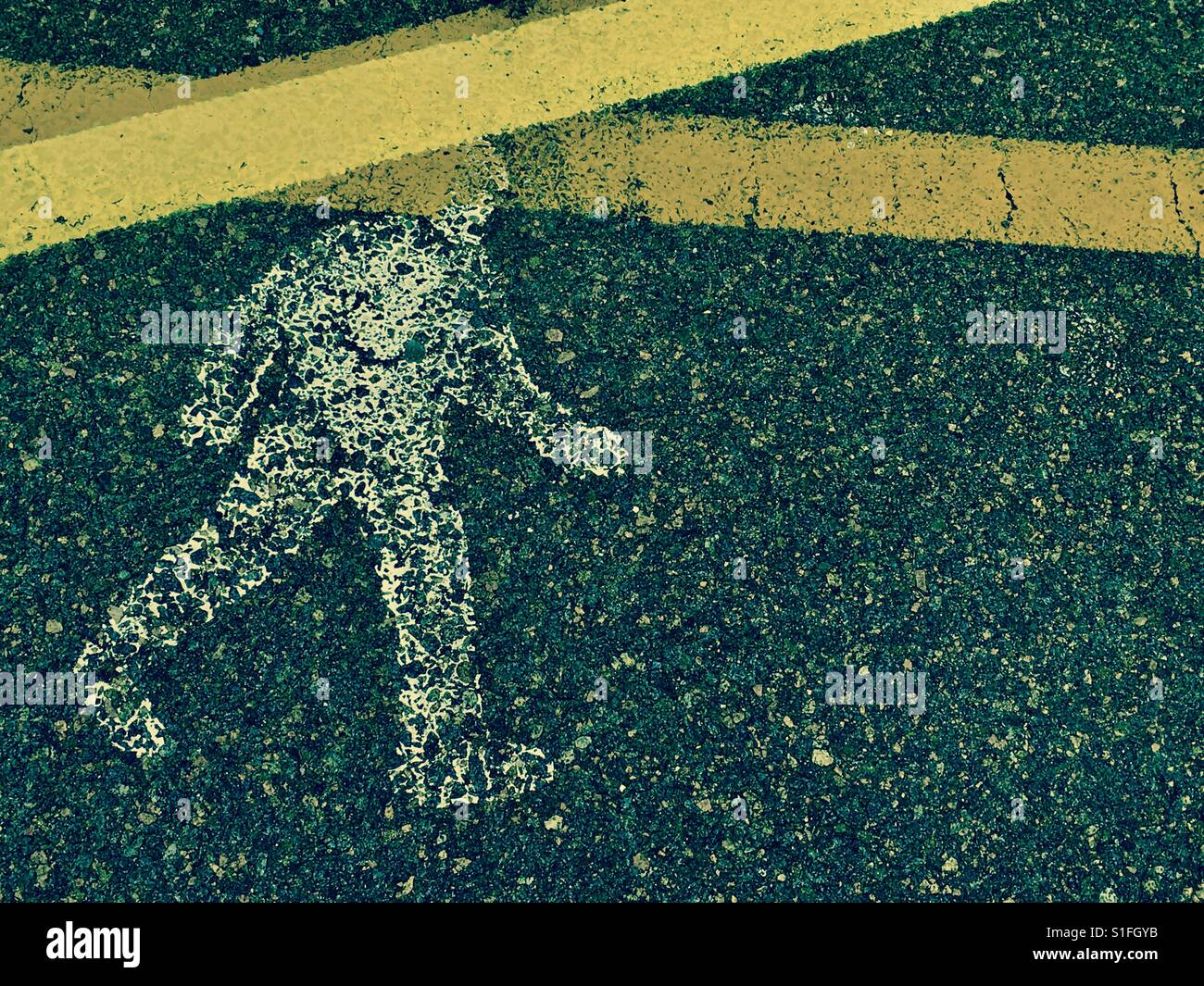 Symbol of a determined man or pedestrian walking - Stock Image