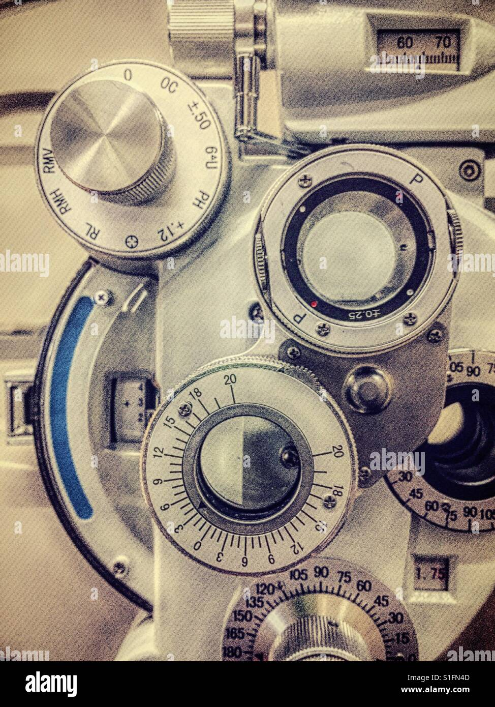 Ophthalmology Office, close-up of phoropter refraction machine, USA - Stock Image