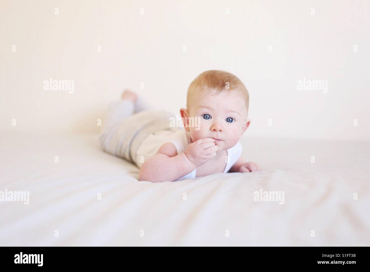 Baby boy laying on bed tummy time - Stock Image